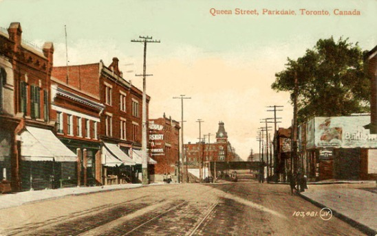 Outside the present Rhino location looking east around 1900.